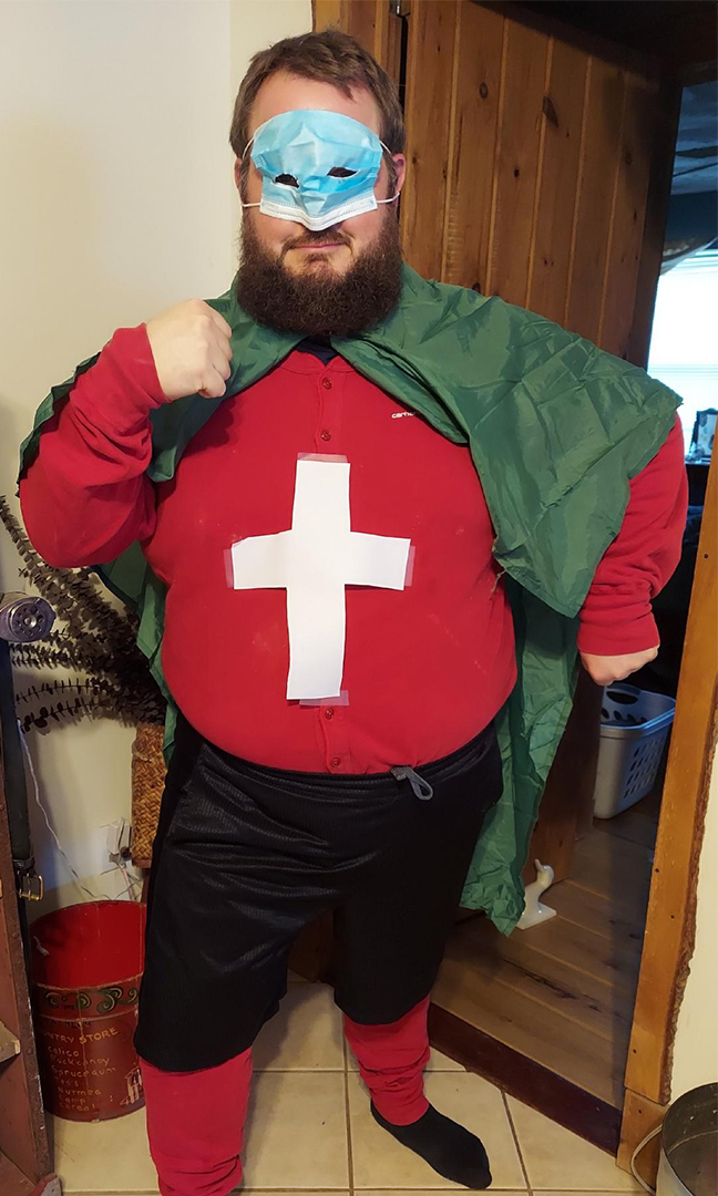"""Craig """"Bucky"""" Carder dressed as Captain Red Cross"""