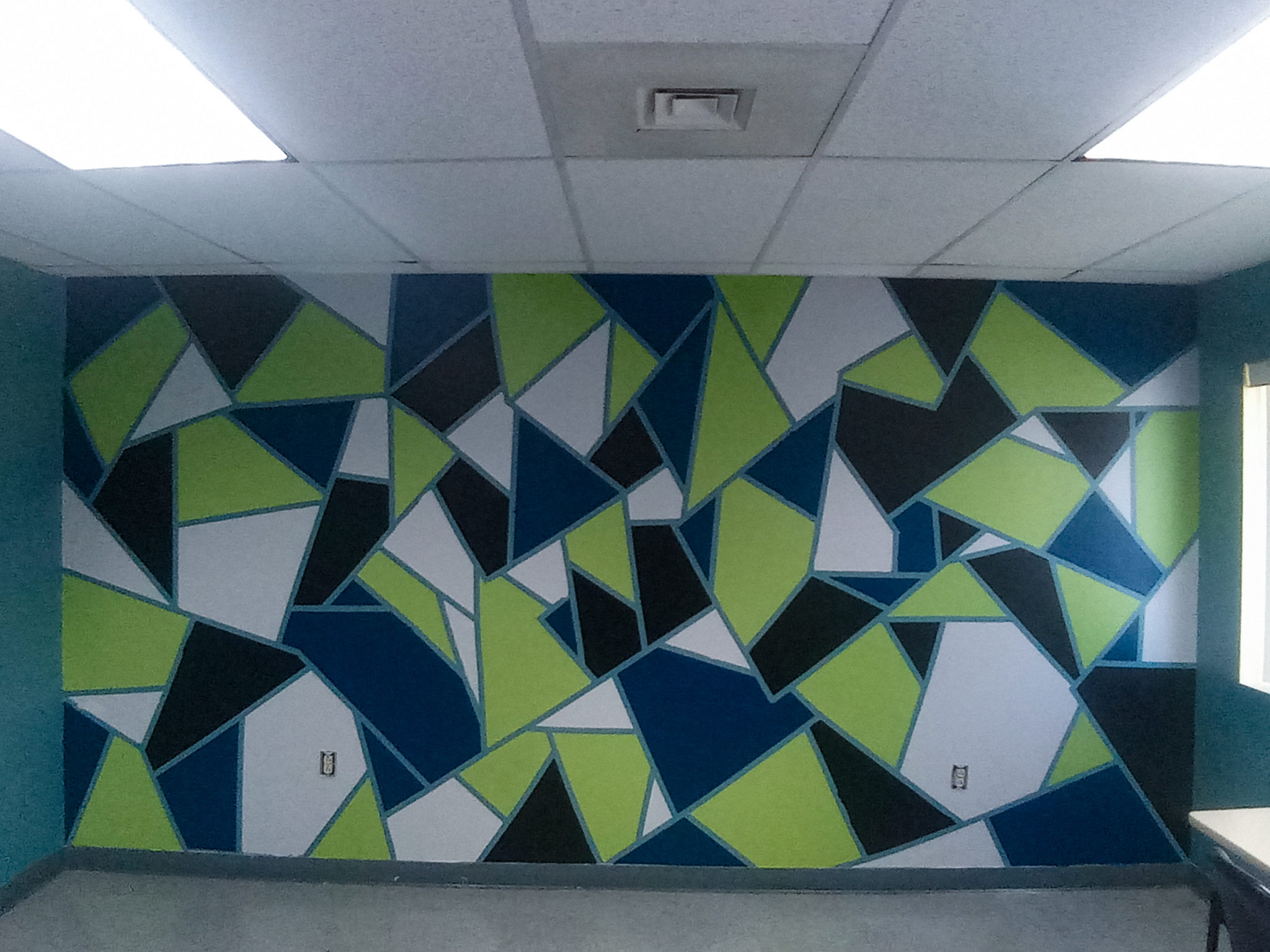 A picture of the finished wall with its newly painted design